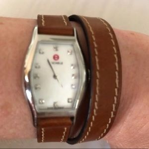 Michele brown wrap around leather band